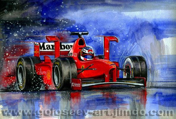 Михаэль Шумахер Ferrari F310 1996 год. 20х30, акварель,бумага. 2005