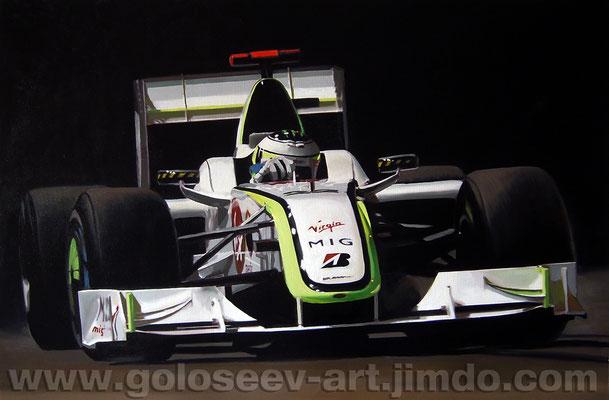 """Джексон Баттон Brawn GP"". 70х50. холст, масло. 2009"