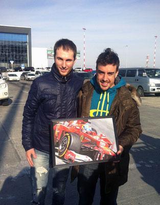 Мой друг павел дарит мою картинку (Фернандо Алонсо Ferrari F2012. холст,масло 31х46. 20.10.2012). Fernando Alonso.