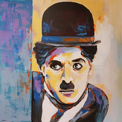 Charly Chaplin Acryl auf Leinwand 100 x 100 cm