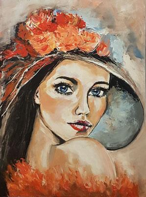 Frau mit Hut Acryl auf Leinwand 60 x 80 cm