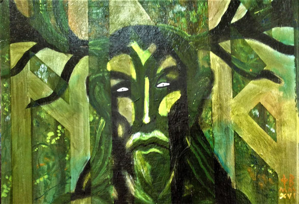 "GREENMAN. 10""x 14"". oil on board. £95.00"