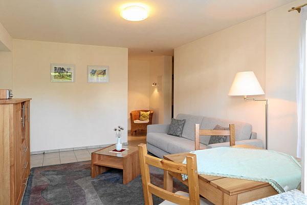 Wohnzimmer mit TV, Internet, Schlafcouch, ausziehbarer Esstisch und Kommode