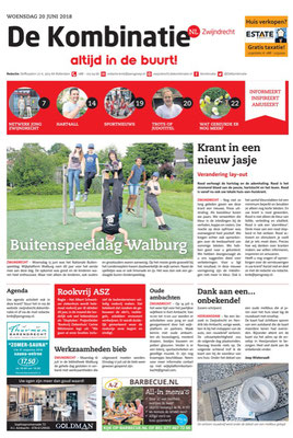 Op de voorpagina krant de Kombinatie 20 juni 2018
