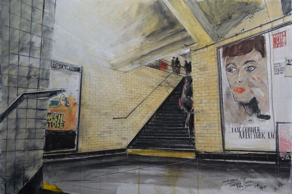 Pastell auf Papier / Grossstadt U-Bahn NY 2014 / 90 x 60 cm