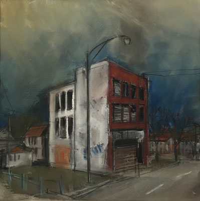Pastell auf Papier / Grossstadt Amerika 2015 / 30 x 30 cm