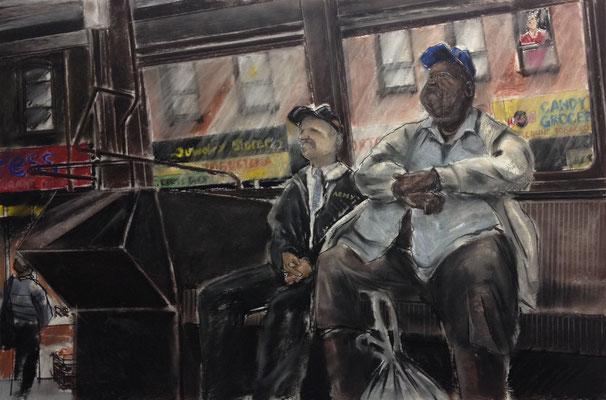 Pastell auf Papier / Grossstadt Bus NY 2014 / 90 x 60 cm