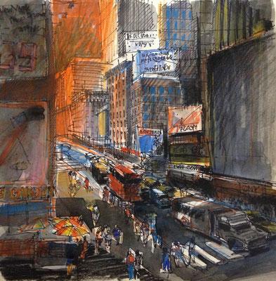 Tusch-Aquarell auf Papier / Grossstadt Amerika NY 2014 / 30 x 30 cm