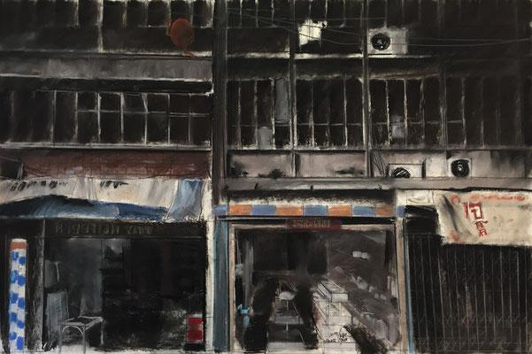 Pastell auf Papier / Grossstadt Asien 2014 / 90 x 60 cm