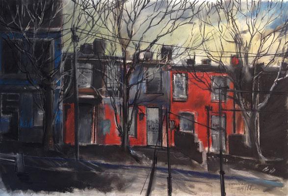 Pastell auf Papier / Grossstadt Amerika 2014 / 90 x 60 cm