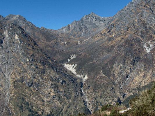 la vallée à remonter vers le col Laurebina La