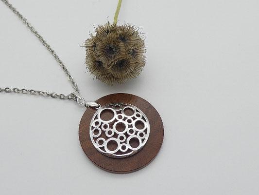 Halskette aus Edelstahl + Anhänger aus Zwetschge + Ornament aus 925 Silber