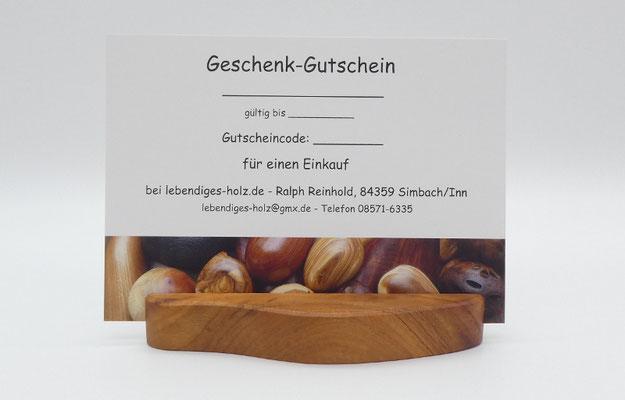 Geschenk-Gutschein, kartenhalter aus Holz, ralph reinhold
