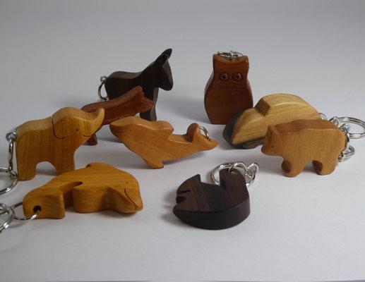Schlüsselanhänger Tiere aus Holz