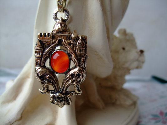 フィレンツェ、真鍮製・天然石オレンジ瑪瑙