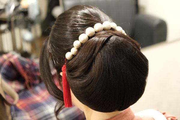 和髪シンプルアップ。