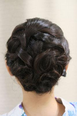 銀座、編み込みヘアメイク