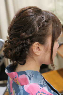 銀座、浴衣編み込みヘア