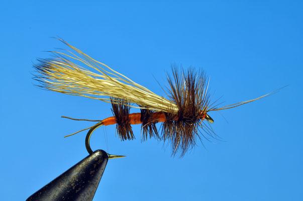 Bird's Stonefly Adult Amo: gambo lungo, dal #4 fino al #10 Coda: moose Corpo: floss arancio Rib: gallo brown a raschietto Ali: pelo di cervo o coda di scoiattolo Hackle: gallo brown Antenne: (opzionali) moose