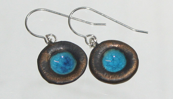 TROPICAL POOLS drop earrings Bronze/Turquoise