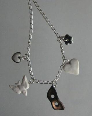 Charm necklace: bronze mask