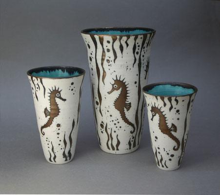 Seahorse vases