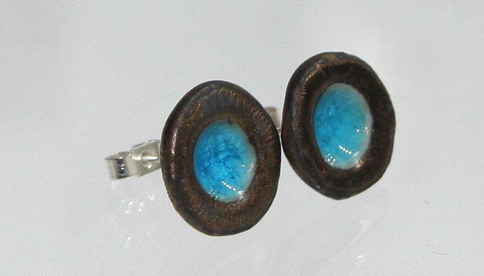 TROPICAL POOLS ear studs Bronze/Turquoise