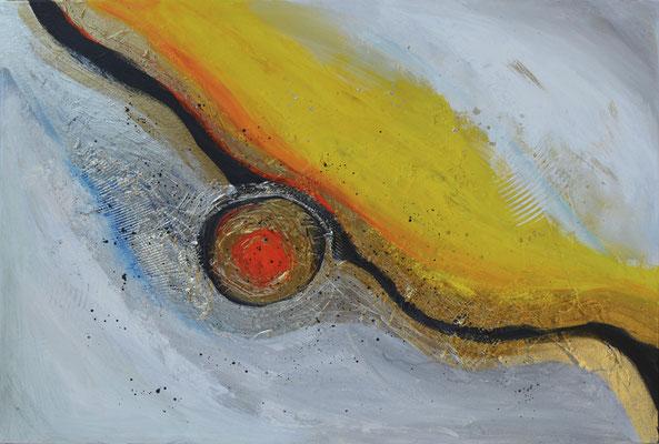 Mittelpunkt, 70 x 50 cm, Acryl