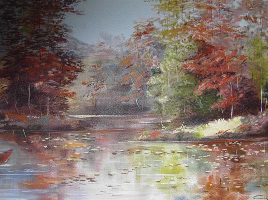 Herbst am See, 120 x 60 cm (Abb. nur ein Auschnitt), Öl