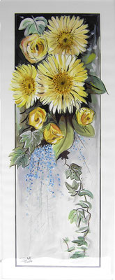Gelbe Gerbera, 70 x 30 cm, Aquarelle
