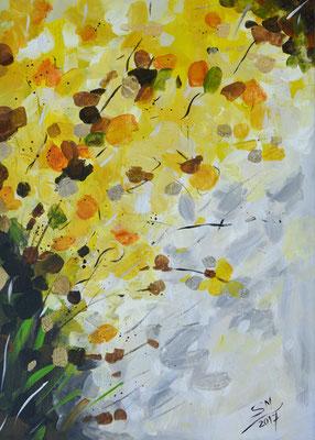 Fantasie in gelb, 50 x 70 cm, Acryl