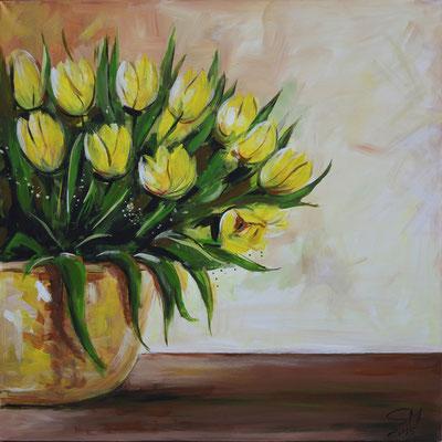 Gelbe Tulpen, 90 x 90 cm, Acryl