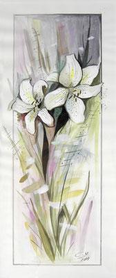 Weiße Lilien, 70 x 30 cm, Aquarelle
