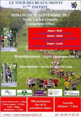 Trail des Beaux Monts (Compiègne - dép60 - 5/15/32km - Dim15/09/2013)