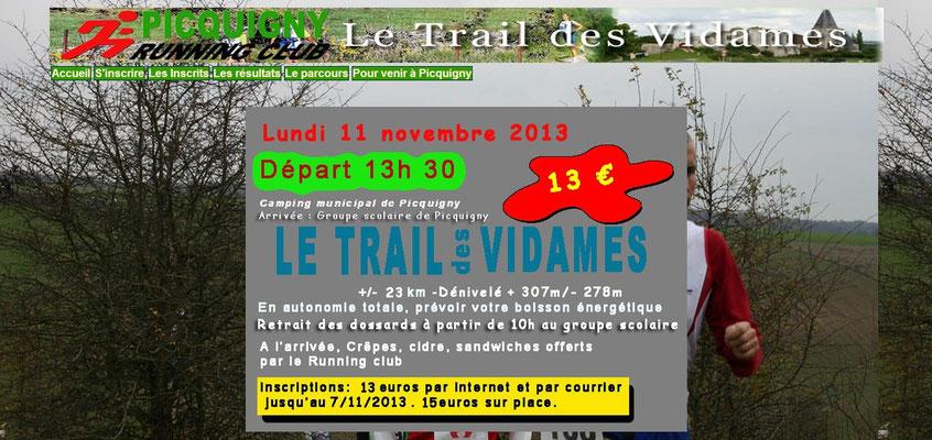 Trail des Vidames 2013 (Picquigny - dép80 - 23km - Lun11/11/2013)