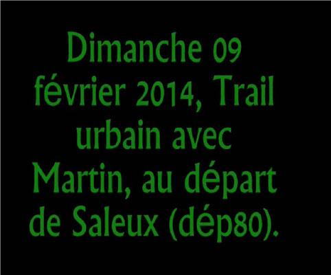 Trail Urbain au départ de Saleux avec Martin (dép80 - 18km - Dim09/02/2014)