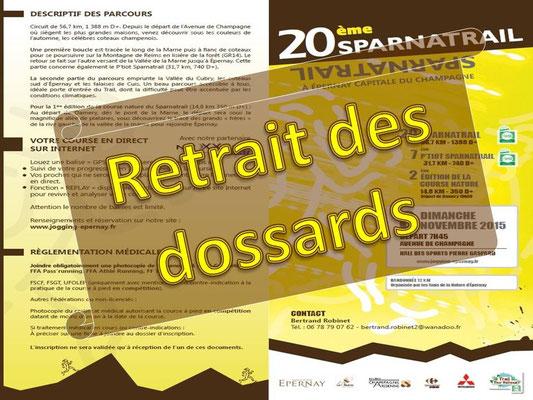 Sparnatrail 2015 - Retrait des dossards (Epernay - dép51 - 15/32/57km - Dim08/11/2015)