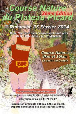 Course Nature du Plateau Picard (St Just en Chaussée - dép60 - 8 & 16km - Dim23/02/2014)