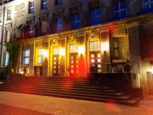 Deutsche Bücherei in Leipzig bei Nacht