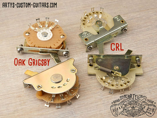 Arty's Custom Guitars prewired Kit with 3- or 5-Way Oak Grigsby or CRL Switch prewired Harness
