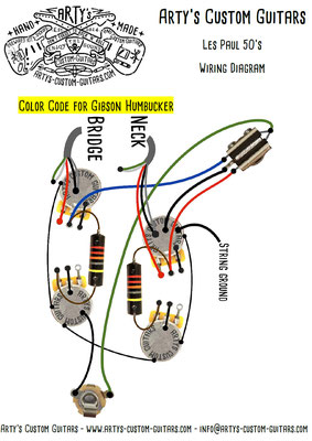 Les Paul Wiring Diagram 50's Fifties www.artys-custom-guitars.com