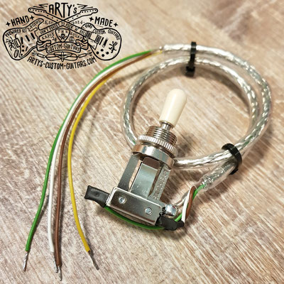 Prewired Switchcraft 3-Way Toggle Switch 4-conductor Braided Shield Wire Arty's Custom Guitars