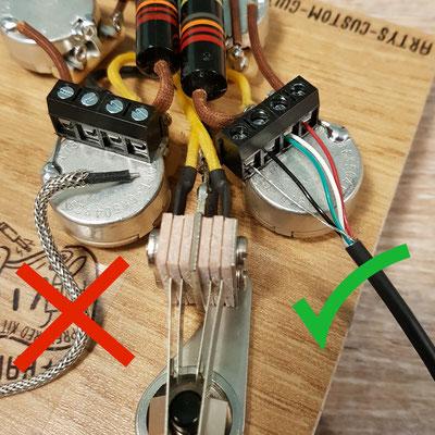 LES PAUL SOLDERLESS WIRING HARNESS BUMBLE BEE www.artys-custom-guitars.com