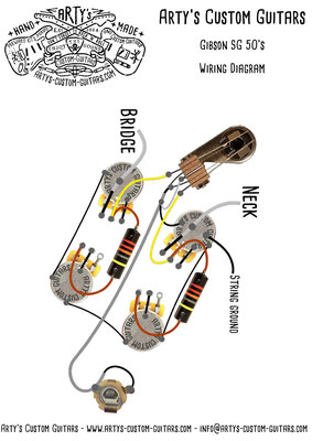 Gibson SG 50's Fifties Wiring Diagram Vintage Pickups Arty's Custom Guitars