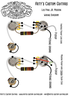 Wiring Diagram Les Paul Junior Modern PREWIRED KIT Wiring Harness www.artys-custom-guitars.com