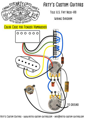 Wiring Diagram U.S. Fat Telecaster 5-Way artys-custom-guitars.com