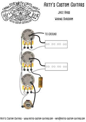 Wiring Diagram PREWIRED KIT JAZZ BASS www.artys-custom-guitars.com