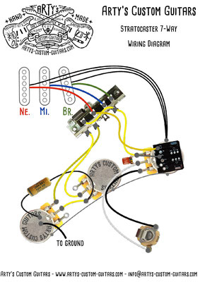 Wiring Diagram 7-WAY GILMOUR Stratocaster PREWIRED KIT Wiring Harness www.artys-custom-guitars.com