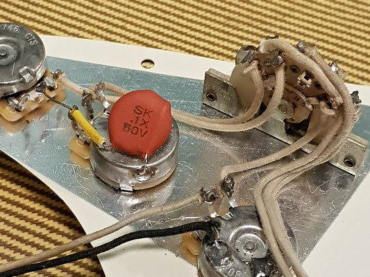Startocaster wiring with Red Dime Capacitor artys-custom-guitars.com