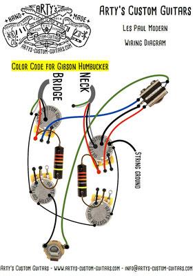 Les Paul Wiring Diagram Modern www.artys-custom-guitars.com